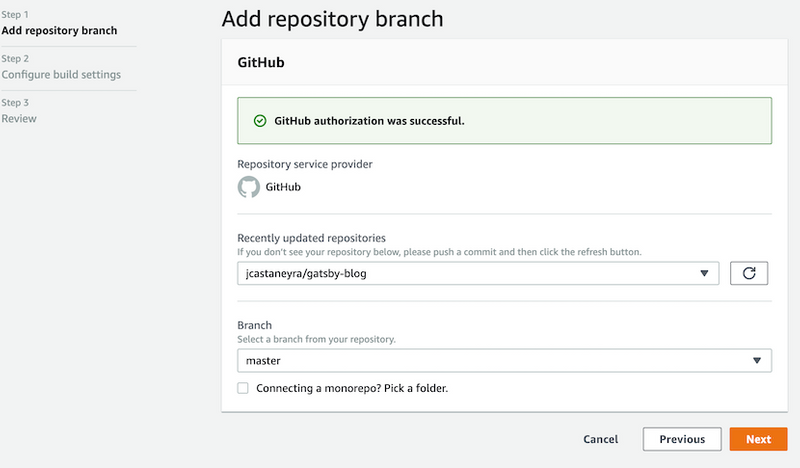 Amplify select repo and branch